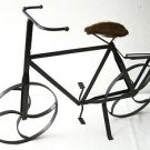 "Metal BICYCLE Decor w/ SPINNING WHEELS & Natural Fiber Seat  21"" Long & 14"" High"