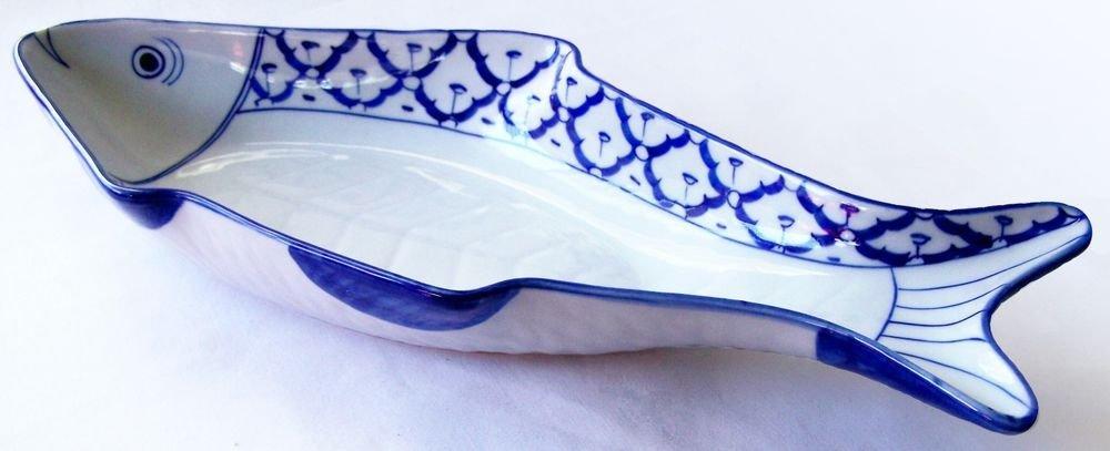 "CERAMIC Fish Shaped LONG PLATE x2 Thai Asian Blue Wht PLATTER 15.5""x7"" MICROWAVE"