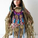 "16"" Porcelain DOLL NATIVE AMERICAN GIRL Tan Pink Blue Purple Outfit with CoA NEW"