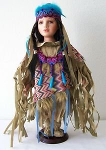 """16"""" Porcelain DOLL NATIVE AMERICAN GIRL Tan Pink Blue Purple Outfit with CoA NEW"""
