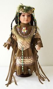 "16"" Porcelain DOLL NATIVE AMERICAN GIRL Tan/Cream/Orange-Red Outfit with CoA NEW"