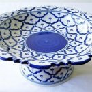 "CERAMIC PLATTER w/ STAND Asian Blue & White Imported PLATE 9"" Diameter MICROWAVE"