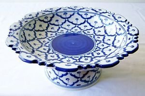 """CERAMIC PLATTER w/ STAND Asian Blue & White Imported PLATE 9"""" Diameter MICROWAVE"""