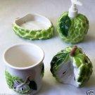 Tropical Fruit 4-pc BATH SET Custard Apple CUP Soapdish LOTION DISPENSER Toothbr