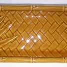 "CERAMIC Bamboo Long Rectangle PLATE Asian Golden Brown Platter 11.2""x5""x1.2"" NEW"