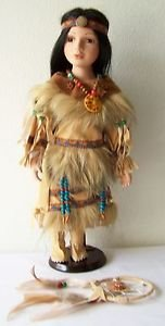 """16"""" Porcelain DOLL NATIVE AMERICAN GIRL Tan/Beige/Red/Blue Outfit with CoA NEW"""