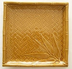 """CERAMIC Bamboo Square PLATE Asian Golden Brown Platter Dish 9.8"""" x9.8"""" x1.3"""" NEW"""