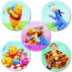 Smilemakers.com Stickers Glitter Pooh Bear & Friends