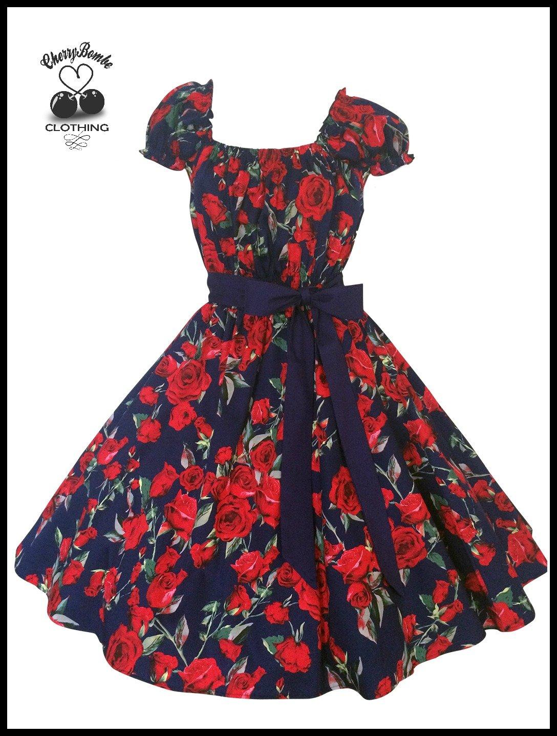 Women's Vintage 50's Style Navy Rose Print Swing Dress, Rockabilly, Wedding, Plus Size 2X 3X