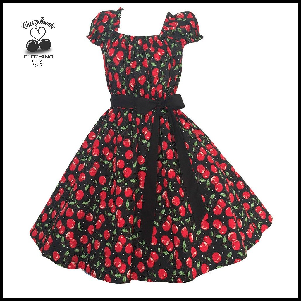 Women's Vintage 50's Style Cherry Dot Print Swing Dress, Rockabilly, Wedding, Plus Size 2X 3X