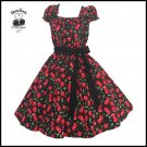 Women's Vintage 50's Style Cherry Dot Print Swing Dress, Rockabilly, Wedding, Plus Size 2X 3X