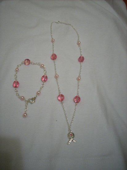 Handmade Pink Swarovski Crystal Breast Cancer Awareness Necklace & Bracelet set