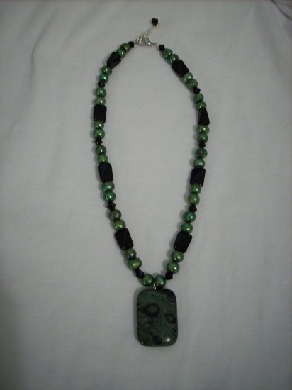 Handmade Deep green and black Kambaba Jasper  Gemstone Necklace