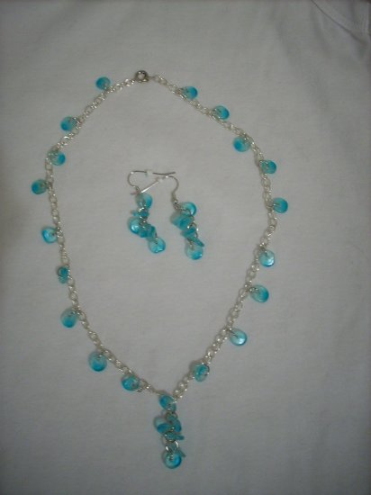 Sterling Plated Chain Necklace & Earrings Handmade Set with Blue Drops