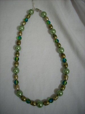 Handmade Mossy Green Pearl & Gold Glass Bead Necklace