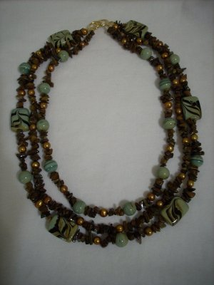 Handmade 3 Strand Tiger Eye Chip and Light Green & Brown Swirl Beaded Necklace