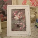Pink & White Rose Print in Chic n Shabby Wood Frame