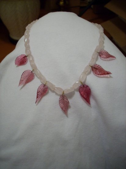 Handmade Dark Pink Leaf & Light Pink beaded Necklace
