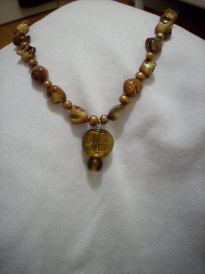 Handmade Golden Brown Necklace & Pendant