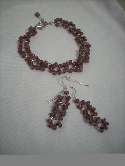 Handmade Dark Amethyst Seed Bead Jumpring Earring & Bracelet Set
