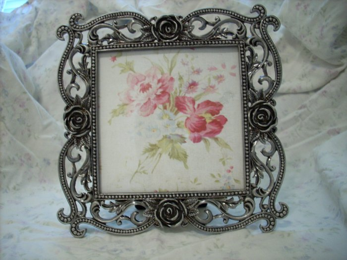 Ornate Metal Picture Frame with Roses