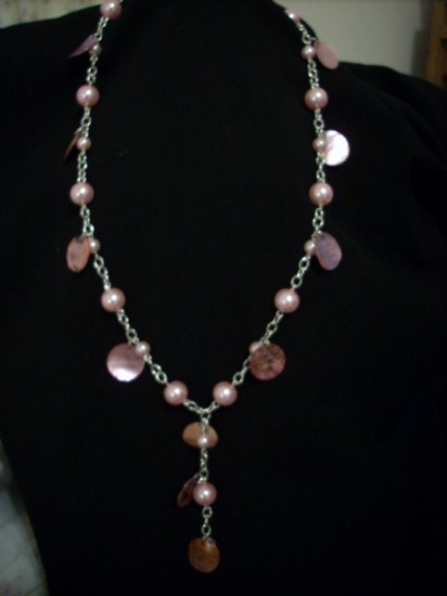 Handmade Pink Pearl and Pink Coin Shell Necklace