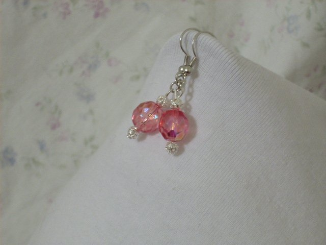 Pink Faceted Glass Bead and Silver Bead Handmade Earrings