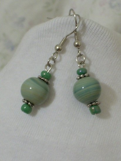Handmade Light Green Swirl Glass Bead Earrings