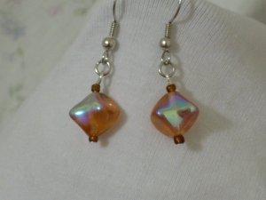 Handmade Czech Amber and brown Glass Bead Earrings