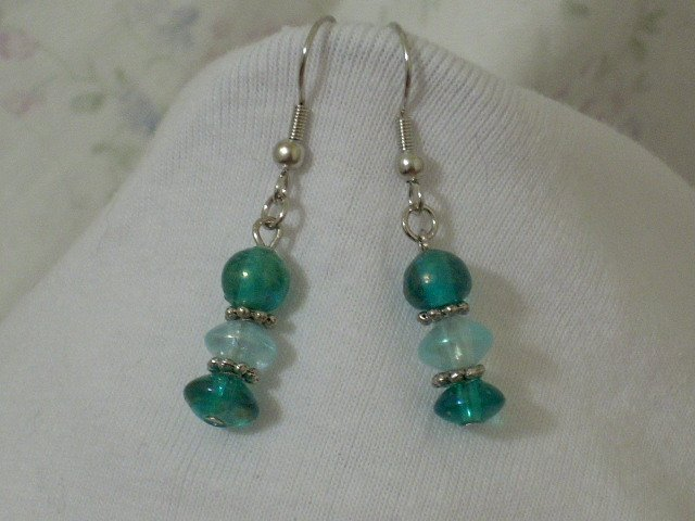 Czech Glass Bead Turquoise Blue and Icy Blue Handmade Earrings