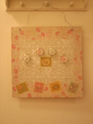 Shabby Chic Romantic Metal Message Board with Glass Magnets
