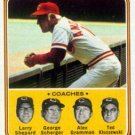 1974 Topps 326 S Anderson MG/L Shepard CO/G Scherger CO/A Grammas CO/Ted Kluszewski CO