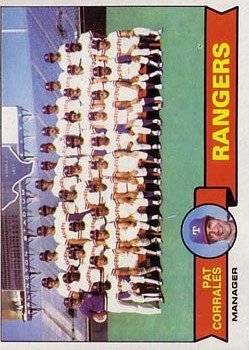 1979 Topps 499 Texas Rangers CL/Pat Corrales MG