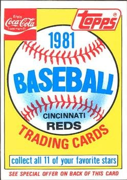 1981 Coke Team Sets 48 Reds Ad Card/(Unnumbered)