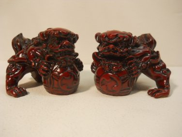 RED CHINESE DOGS PAIR 2 PCS