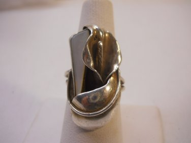 Beautiful Sculptured Crafted Sterling Ring Sz 7 1/4-1/2