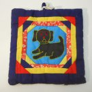 Embroidered Dog Pot Holder Handmade
