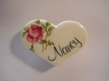 Nancy Porcelain Heart Collectible Refrigerator Magnets