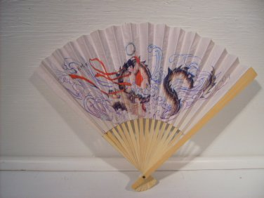 Asian Chinese Paper Printed Dragon Hand Fan, Fan24