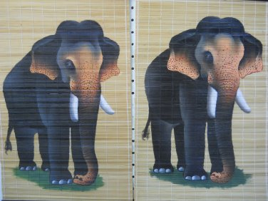 Wall Scroll With Elephant Hand Painted