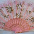 Embroidered Pink Lace Floral Folding Hand Held Fan n125