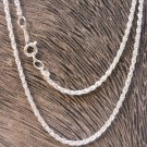 """Korean Silver 2 mm Rope Chain 18""""  New Vintage"""