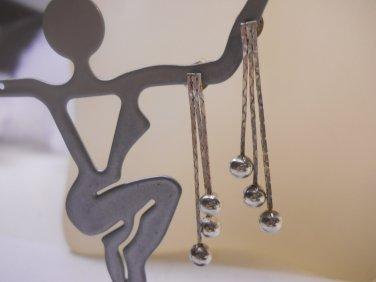 Vintage Ball Dangle Earrings Italy 925  n68