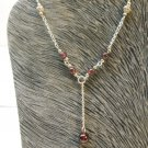 Garnet Stone Crafted Solid Sterling Silver 925 Y Necklace  n436