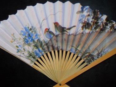 Birds & Flowery Paper Hand Fan # 130