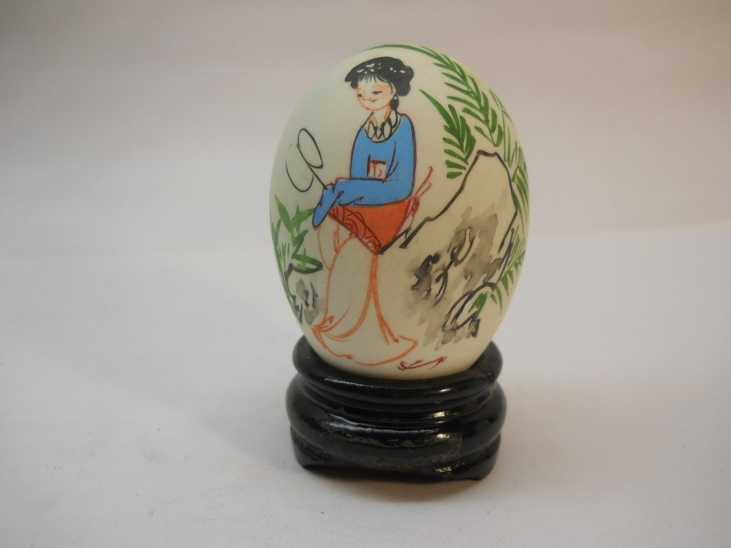 Chinese Lady w/Fan on Egg Asian Eggs Hand Painted