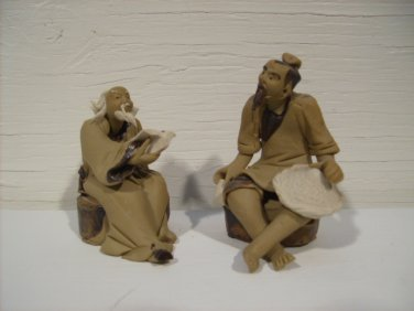 Vintage Chinese Clay Fisherman w/Book