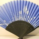 Blue Floral Silk Handheld hand Fan Folding Fans Asian Hand Fan #Fan164