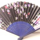 Black w/ Flowers Silk Handheld Hand Fan Folding Fans Asian Hand Fan #Fan166