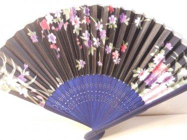 Black w/ Flowers Silk Handheld Hand Fan Folding Fans Asian Hand Fan #Fan166